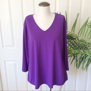 Bob Mackie Wearable Art XL Purple 3/4 Sleeves Top